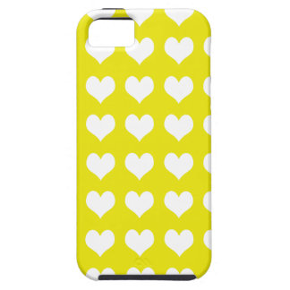 iPhone 5 Case Yellow with White Hearts