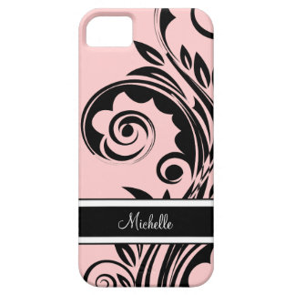 iPhone 5 casos del monograma florales Funda Para iPhone 5 Barely There