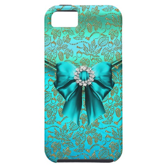 iPhone 5 Damask Gold Teal Blue iPhone SE/5/5s Case