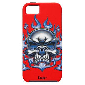 Iphone 5 duro - cráneo cristalino con las llamas iPhone 5 funda