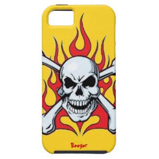 Iphone 5 duro - Metal el cráneo con las llamas Funda Para iPhone 5 Tough