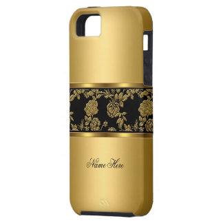iPhone 5 Elegant Classy Gold Black Floral iPhone 5 Covers