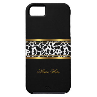 iPhone 5 Elegant Classy Gold Black White Cow Print iPhone 5 Cases