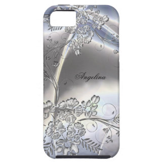 iPhone 5 Elegant Classy Silver Metal Floral Look iPhone SE/5/5s Case