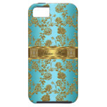 iPhone 5 Elegant Classy Teal Gold Damask Floral iPhone 5 Case
