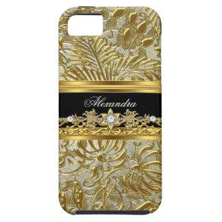 iPhone 5 Elegant Gold Black Silver Damask iPhone 5 Case