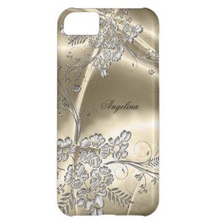 iPhone 5 Elegant Sepia Silver Metal Floral Look iPhone 5C Cases