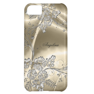 iPhone 5 Elegant Sepia Silver Metal Floral Look iPhone 5C Cover