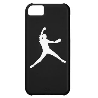 iPhone 5 Fastpitch Silhouette White on Black Cover For iPhone 5C