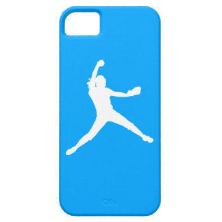 iPhone 5 Fastpitch Silhouette White on Blue iPhone 5 Cases