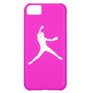 iPhone 5 Fastpitch Silhouette White on Pink iPhone 5C Case