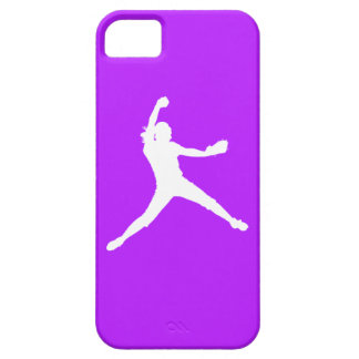 iPhone 5 Fastpitch Silhouette White on Purple iPhone 5 Cases