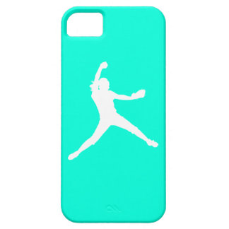 iPhone 5 Fastpitch Silhouette White on Turquoise iPhone 5 Case