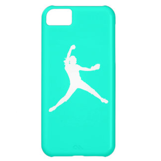 iPhone 5 Fastpitch Silhouette White on Turquoise iPhone 5C Cover