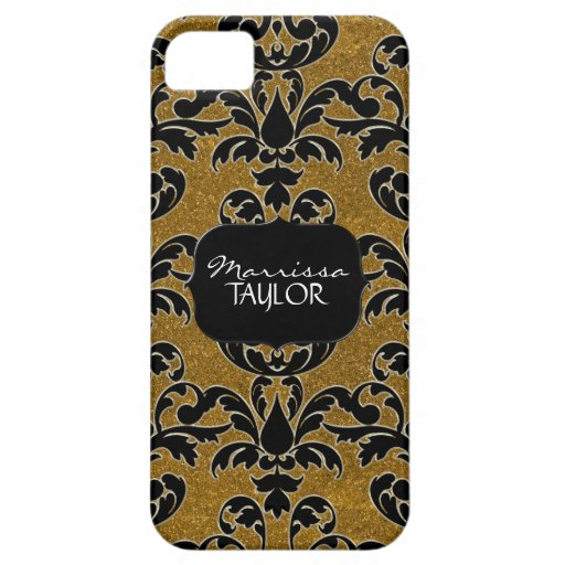 Iphone 5 - Glitter Floral Leaf Swirl Damask Bling iPhone 5 Covers