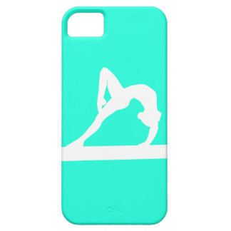 iPhone 5 Gymnast Silhouette White on Turquoise iPhone 5 Covers