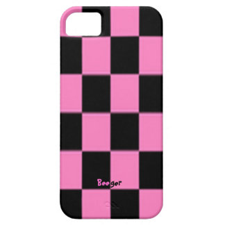 Iphone 5 ID - Pink and Black Checkerboard iPhone 5 Covers