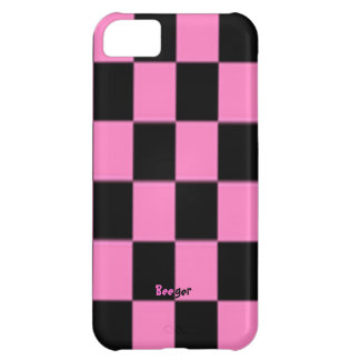 Iphone 5 ID - Pink and Black Checkerboard iPhone 5C Cover