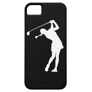 iPhone 5 Lady Golfer Silhouette White on Black iPhone 5 Cases