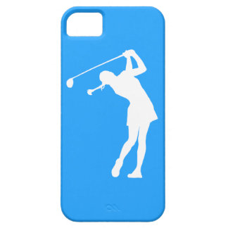 iPhone 5 Lady Golfer Silhouette White on Blue iPhone SE/5/5s Case
