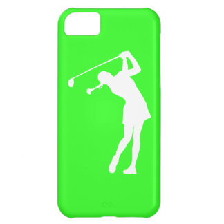 iPhone 5 Lady Golfer Silhouette White on Green iPhone 5C Covers