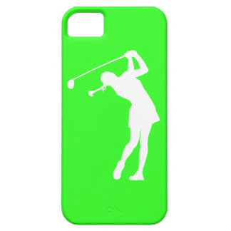 iPhone 5 Lady Golfer Silhouette White on Green iPhone SE/5/5s Case