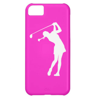 iPhone 5 Lady Golfer Silhouette White on Pink iPhone 5C Cover