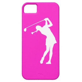 iPhone 5 Lady Golfer Silhouette White on Pink iPhone SE/5/5s Case