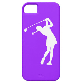 iPhone 5 Lady Golfer Silhouette White on Purple iPhone SE/5/5s Case