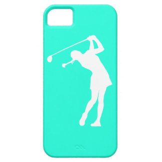 iPhone 5 Lady Golfer Silhouette White on Turquoise iPhone SE/5/5s Case