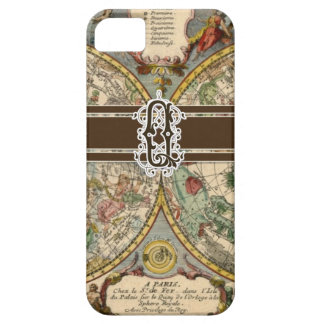 IPhone 5 Letter Q Monogrammed Vintage Nautical Map iPhone 5 Case