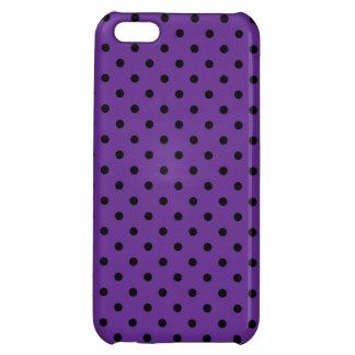 iPhone 5 lunares negros del caso y púrpuras listos