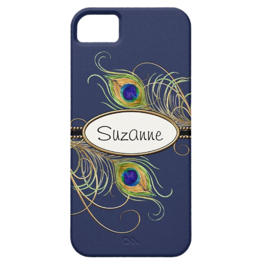 IPhone 5 Modern Peacock Feathers Gold Swirl Name iPhone SE/5/5s Case
