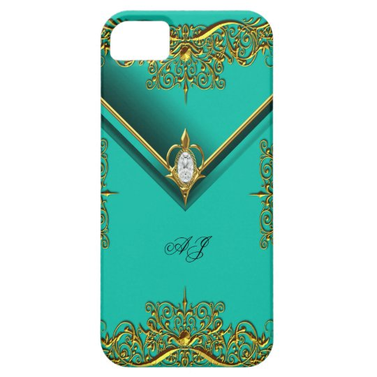 iPhone 5 Monogram Regal Elegant Jade Gold iPhone SE/5/5s Case