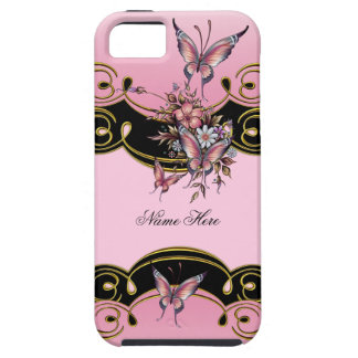iPhone 5 Pink Gold Black Butterfly iPhone 5 Cases
