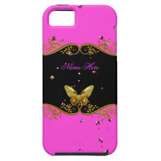 iPhone 5 Pink Gold Black Butterfly iPhone SE/5/5s Case