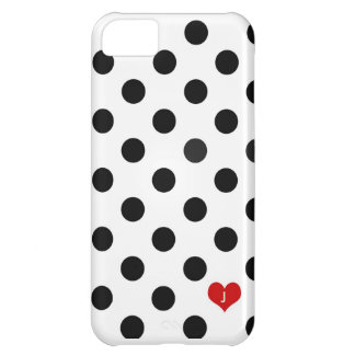 Iphone 5 Polka Dot Black & White Dotted Heart Case iPhone 5C Case