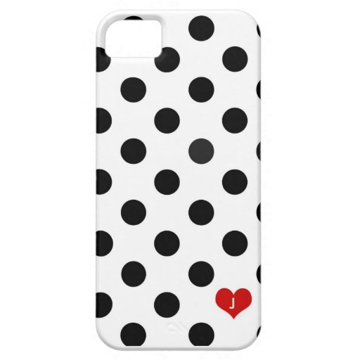 Iphone 5 Polka Dot Black & White Dotted Heart Case iPhone 5 Covers