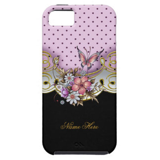 iPhone 5 Pretty Pink Gold Black White Butterfly iPhone 5 Cover