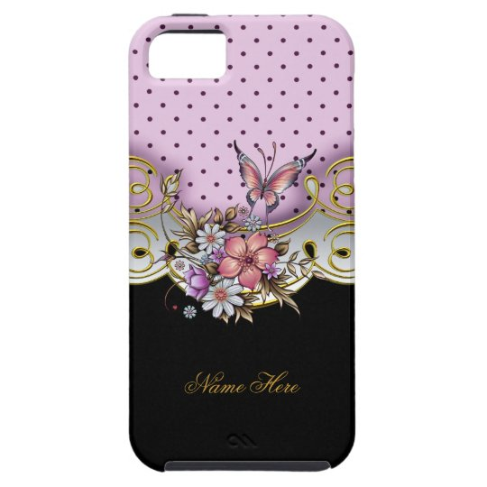 iPhone 5 Pretty Pink Gold Black White Butterfly iPhone SE/5/5s Case