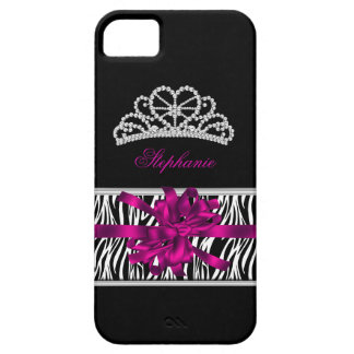 iPhone 5 Princess Silver Tiara Pink Zebra iPhone 5 Case