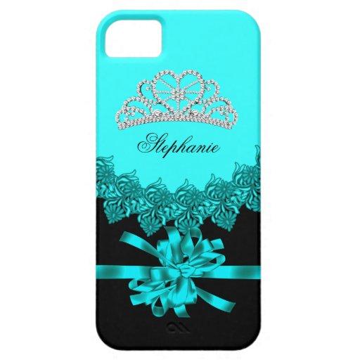 iPhone 5 Princess Silver Tiara Teal Bejeweled iPhone 5 Case