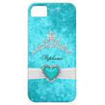 iPhone 5 Princess Silver Tiara Teal Bejeweled iPhone 5 Cases
