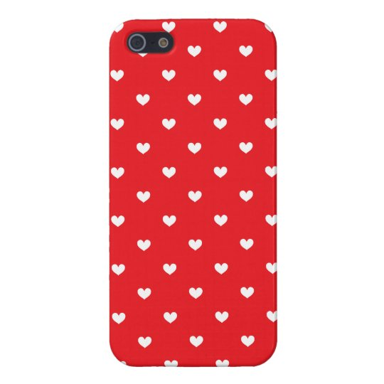 iPhone 5 Savvy Case Red & White Hearts Patterned