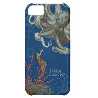 IPhone 5 - Sea Horse Octopus Red Coral Etchings iPhone 5C Cases
