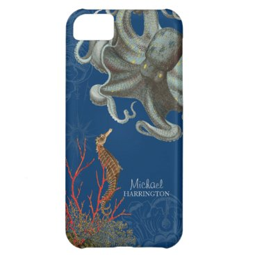 Beach Themed IPhone 5 - Sea Horse Octopus Red Coral Etchings iPhone 5C Cover