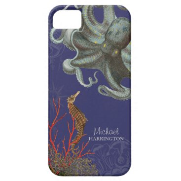 Beach Themed IPhone 5 - Sea Horse Octopus Red Coral Etchings iPhone SE/5/5s Case