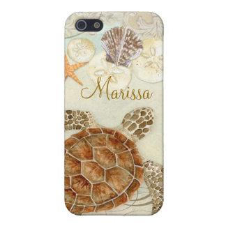 Iphone 5 - Sea Turtle Coastal Beach Sea Shells Cover For iPhone SE/5/5s