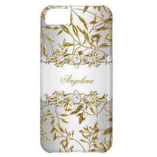 iPhone 5 Silver White Gold Diamond Jewel Image Case For iPhone 5C