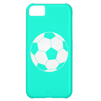 iPhone 5 Soccer Ball Silhouette Turquoise iPhone 5C Cases